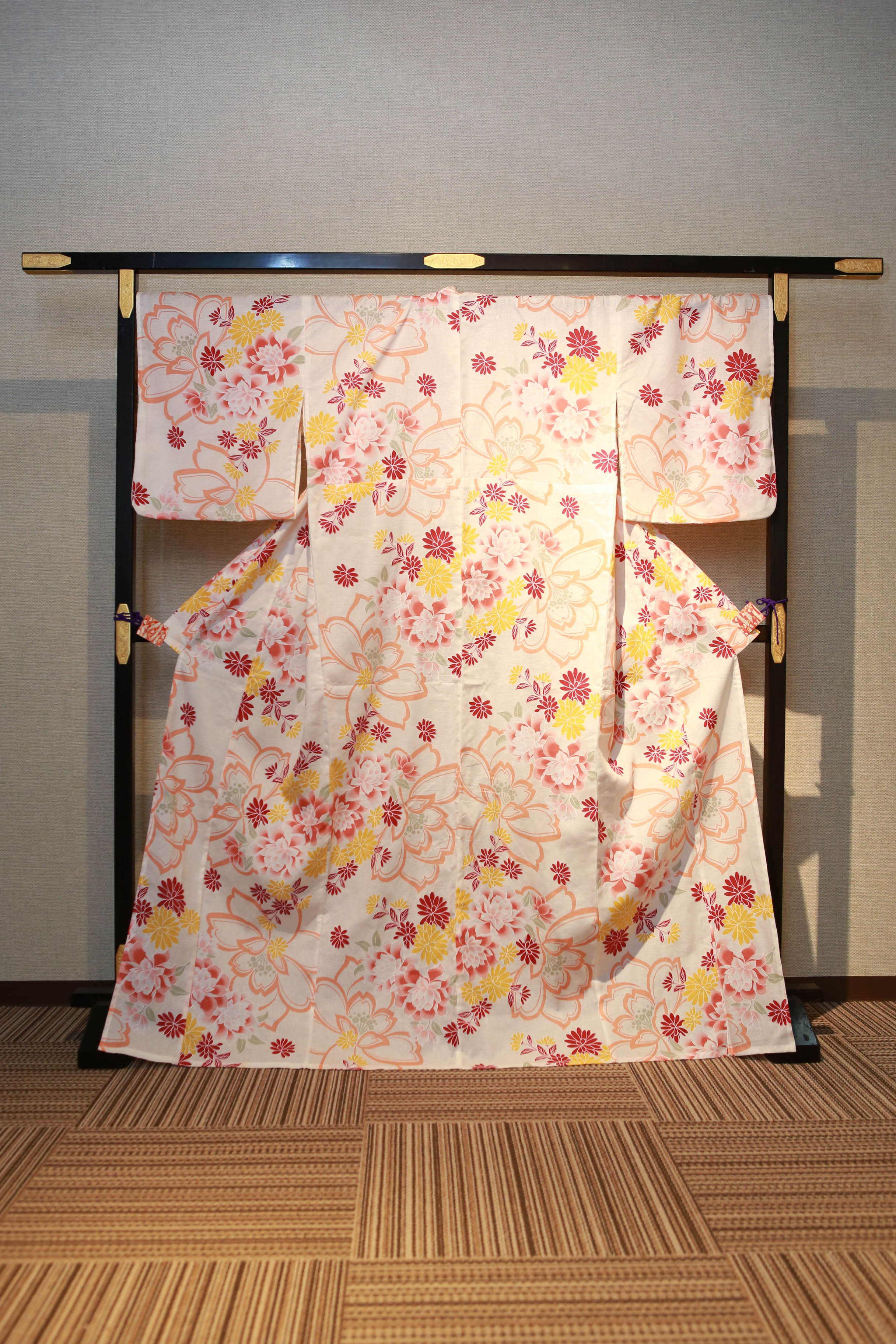 桜色 花柄 レンタルゆかた 高級綿絽