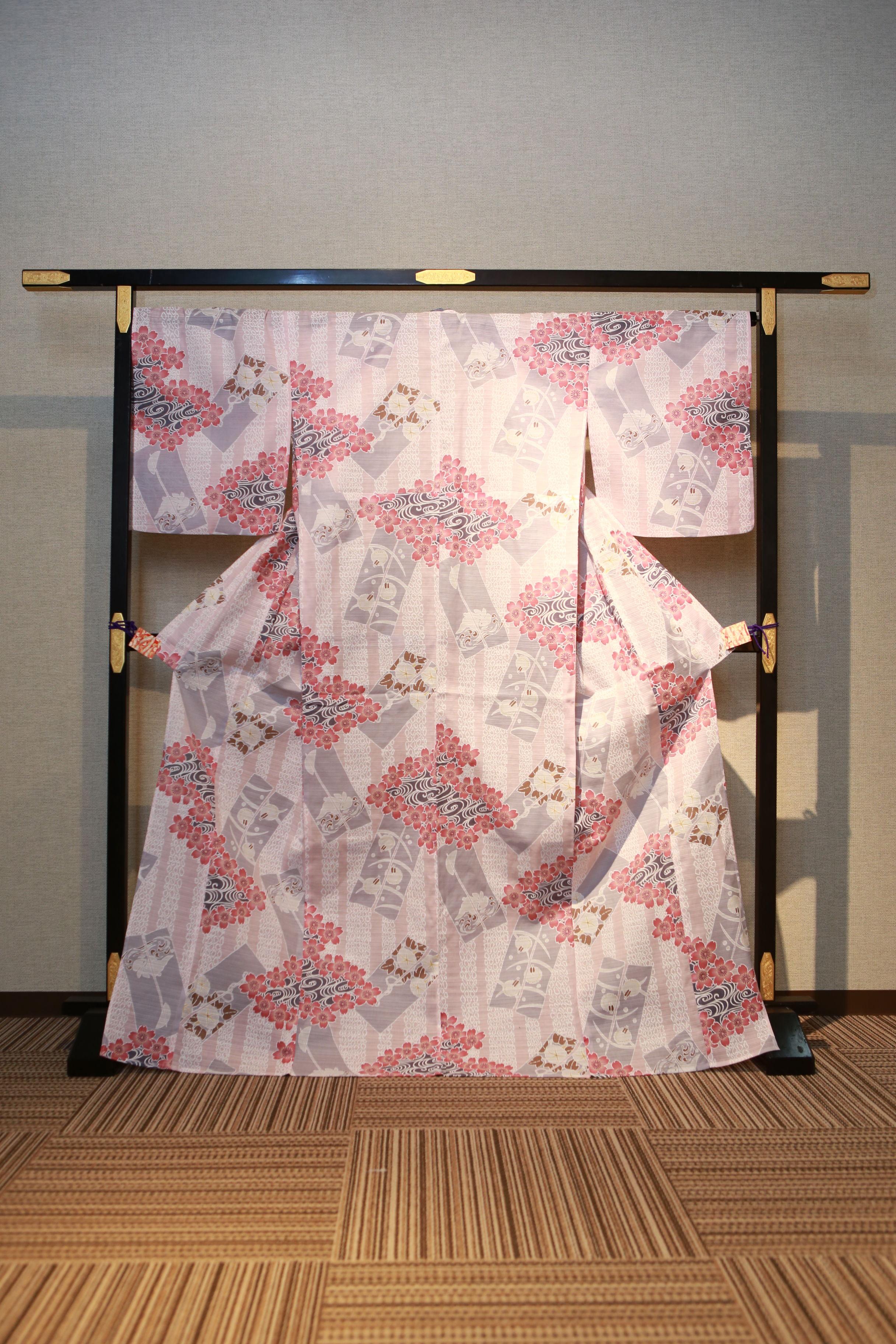 桜色 花柄サクラ レンタルゆかた 高級綿絽