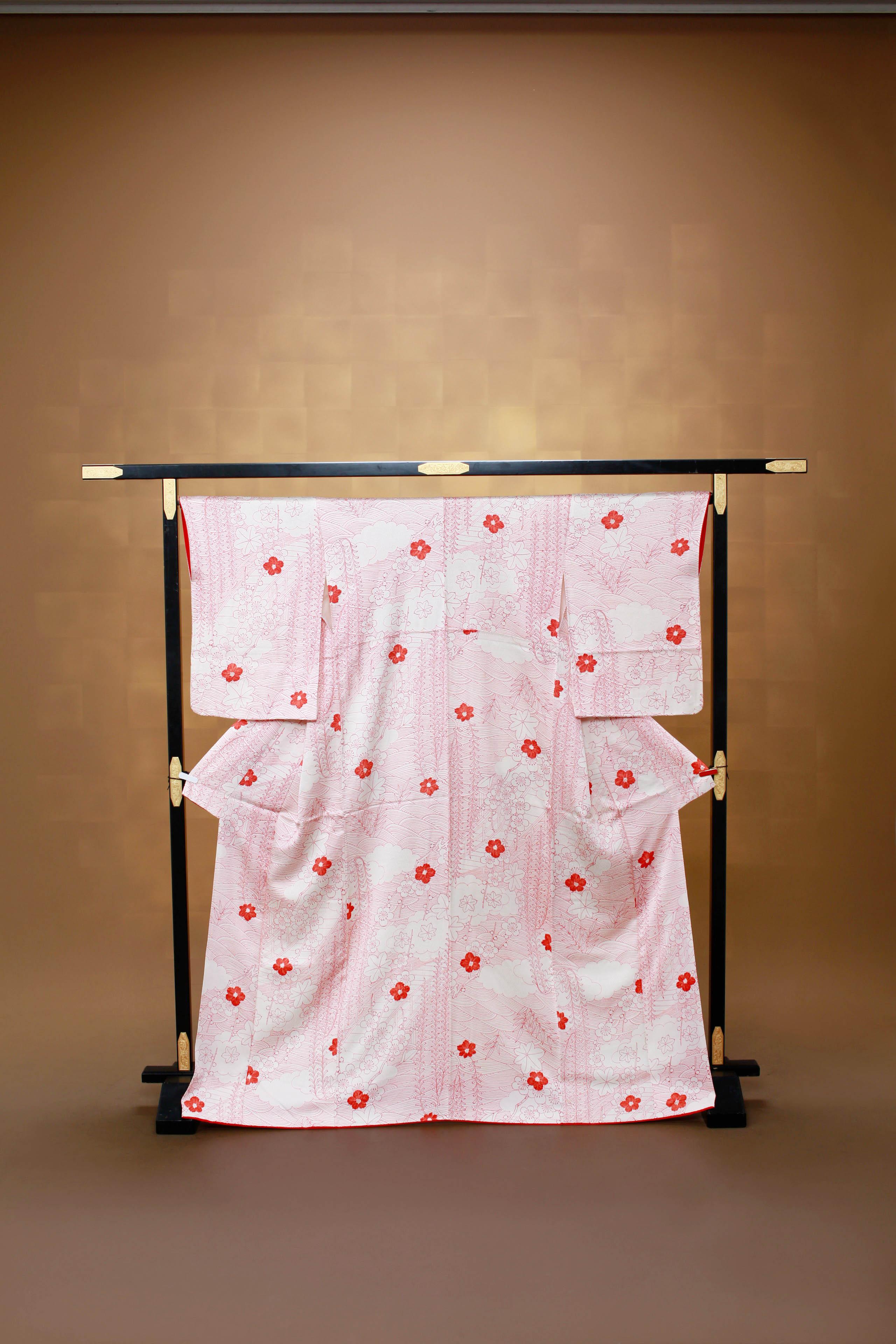 ピンク レンタル着物 正絹