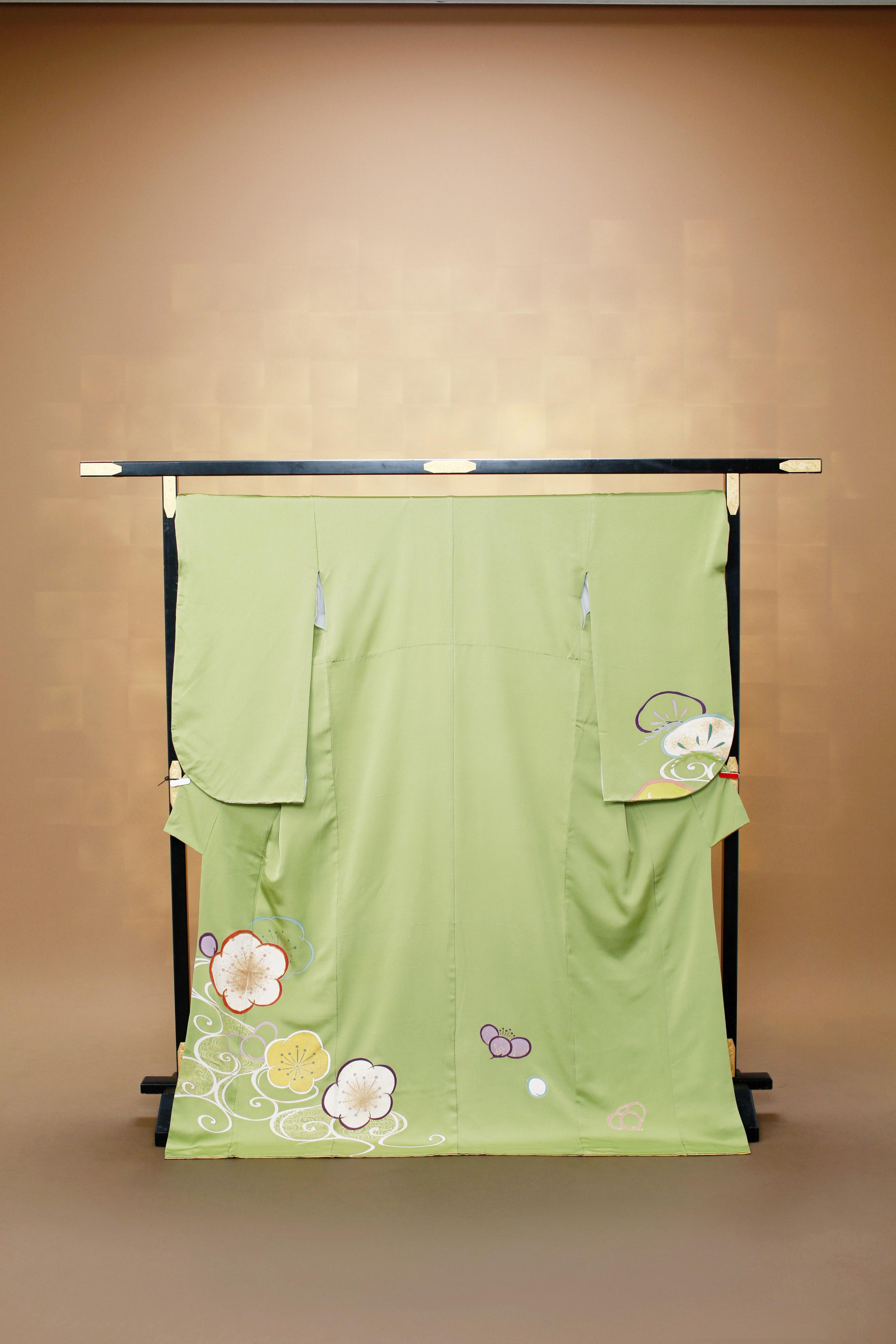 黄緑 レンタル着物 正絹