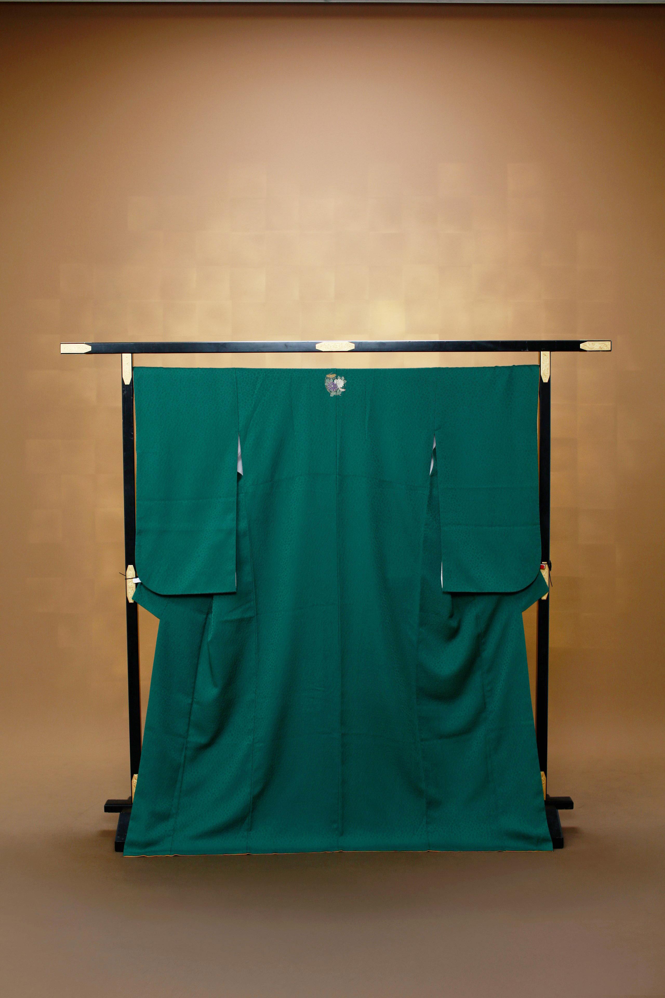 緑 レンタル着物 正絹