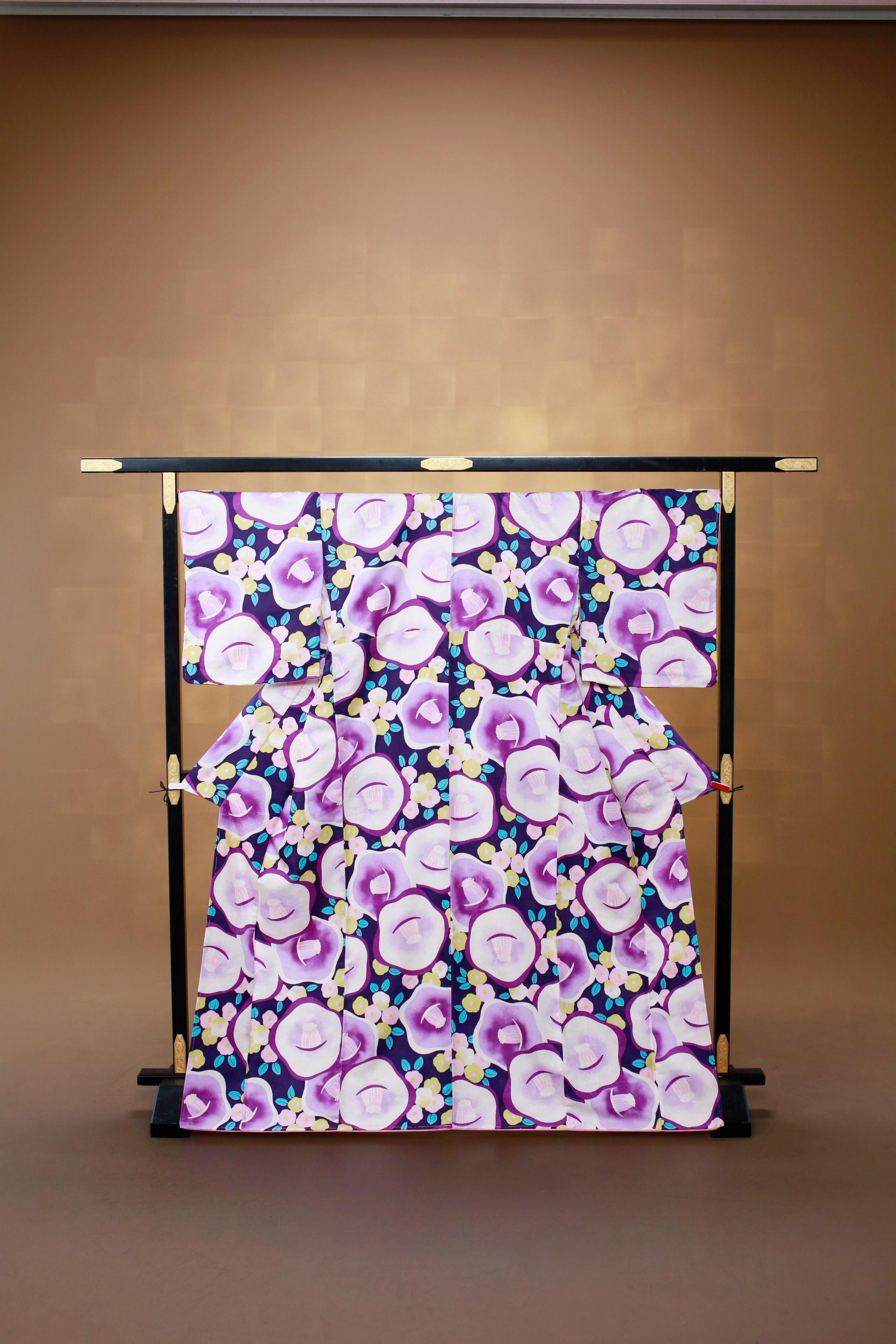 紫 椿 レンタル着物