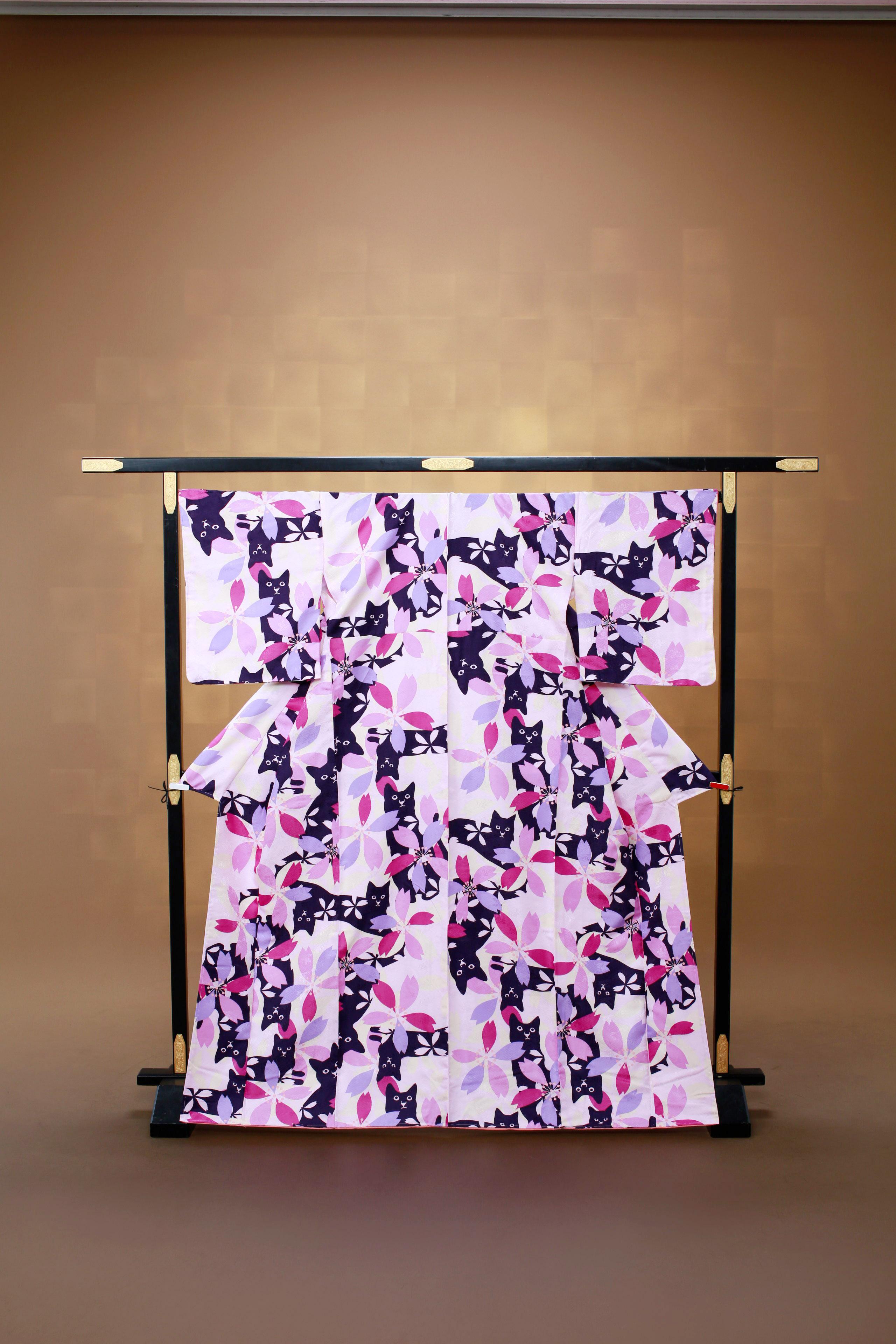紫 猫 花柄 レンタル着物