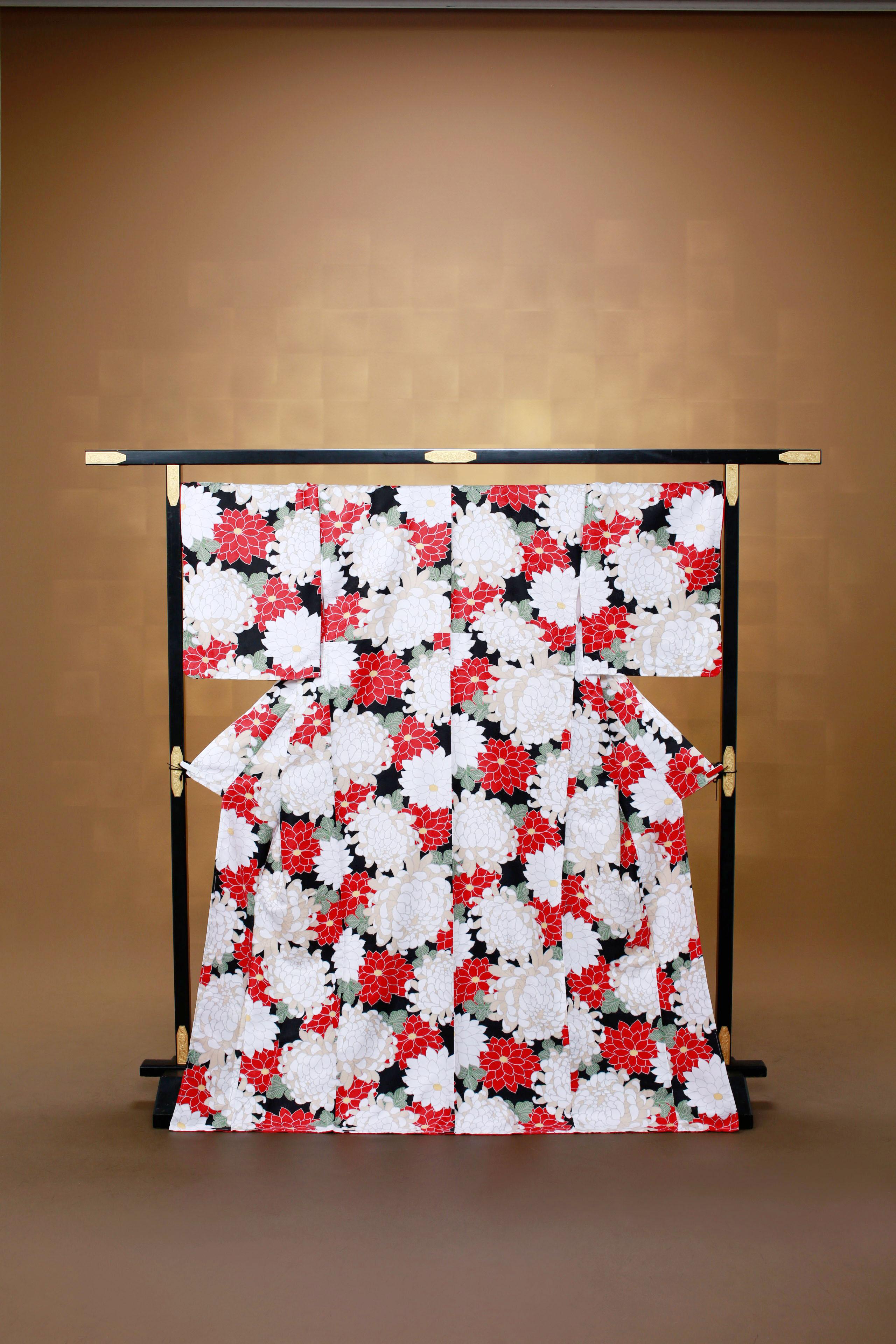 赤白 花柄 レンタル着物