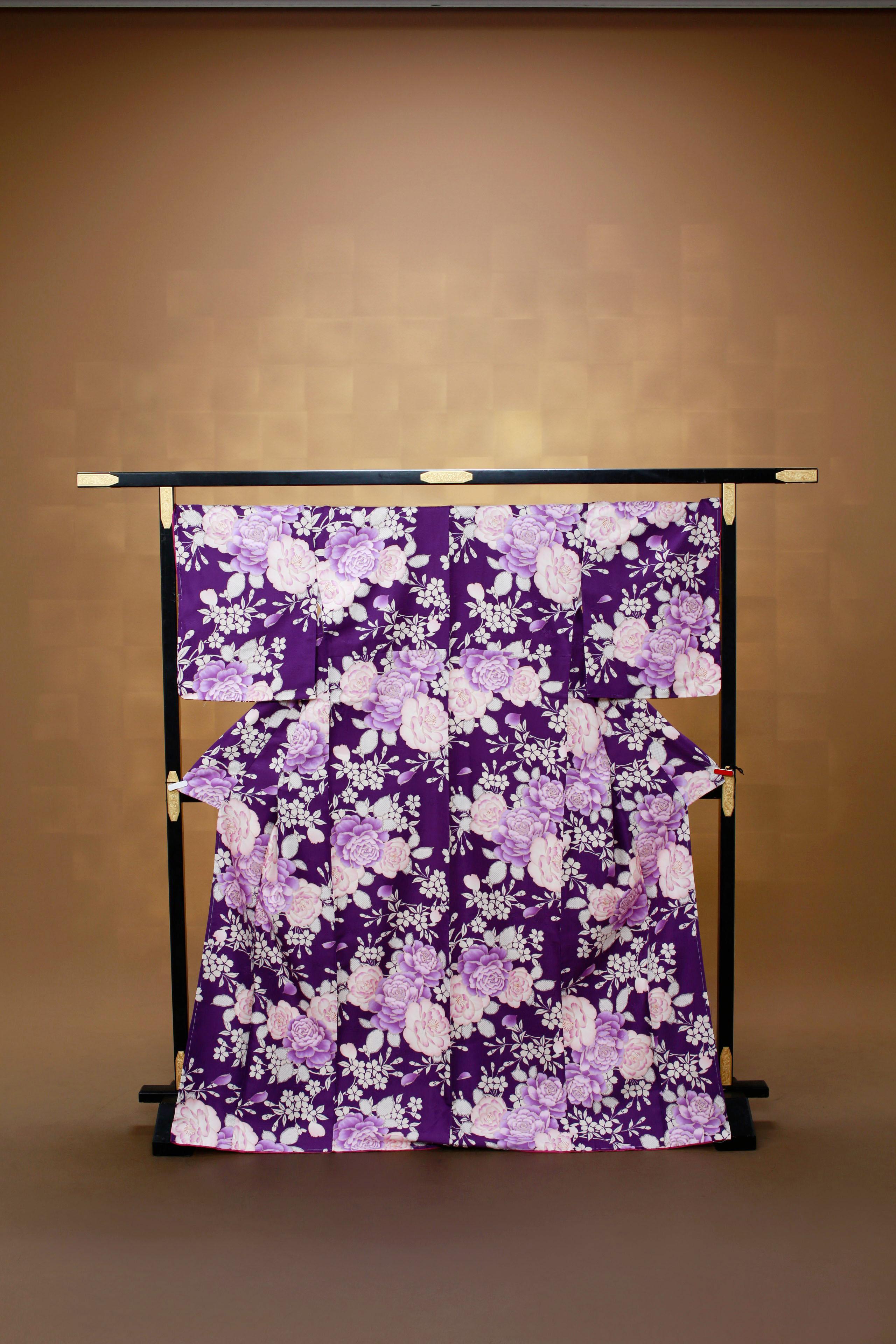 紫 ピング花柄 レンタル着物