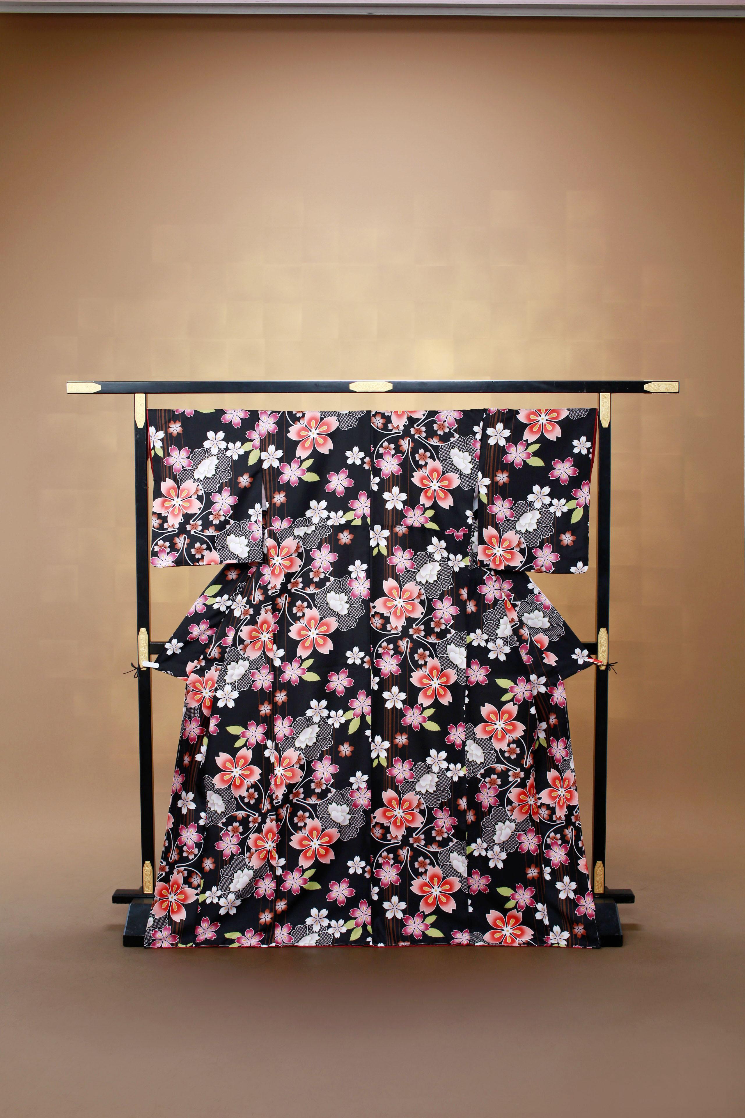 黒 花柄 レンタル着物