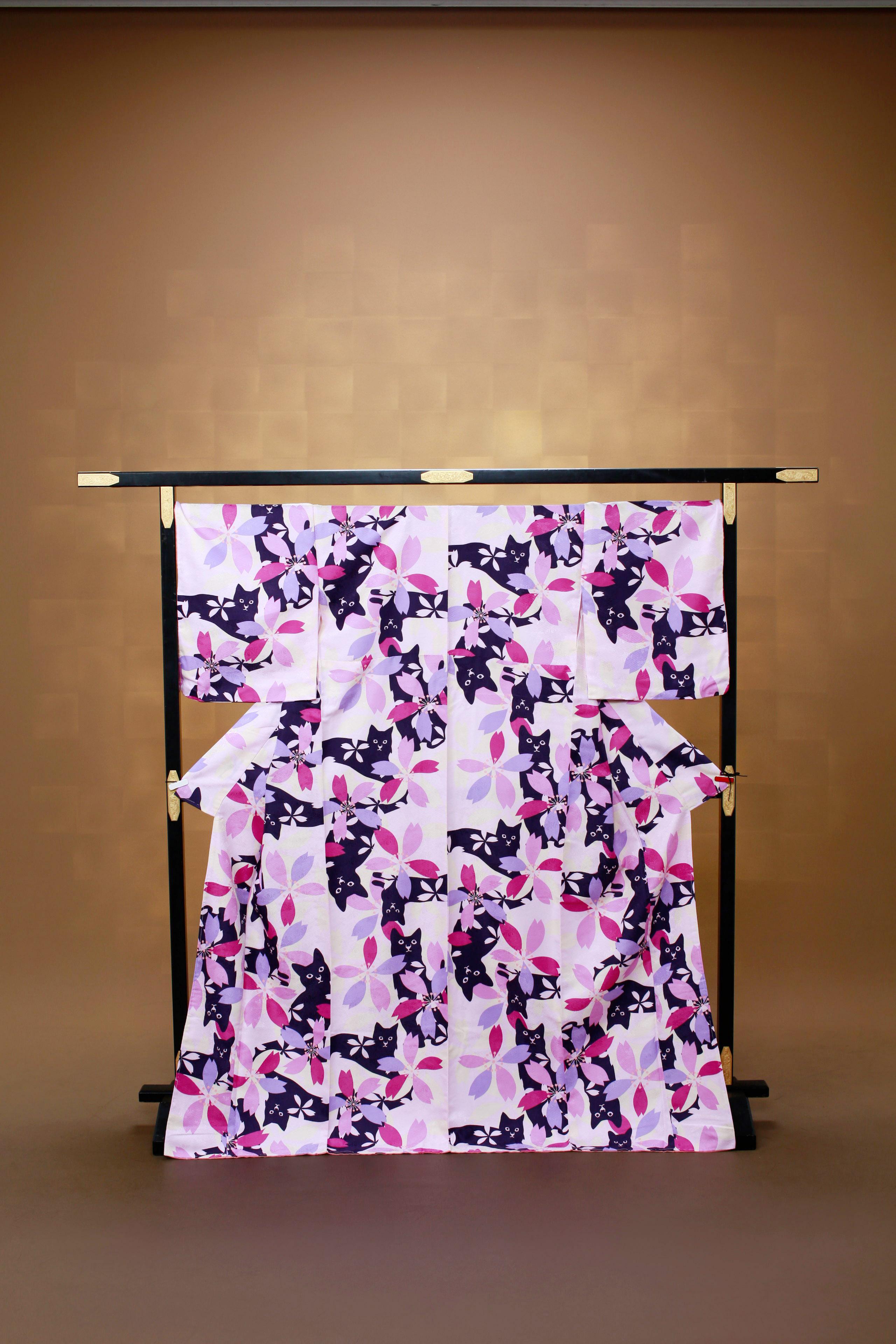 ピンク 猫 花柄 レンタル着物