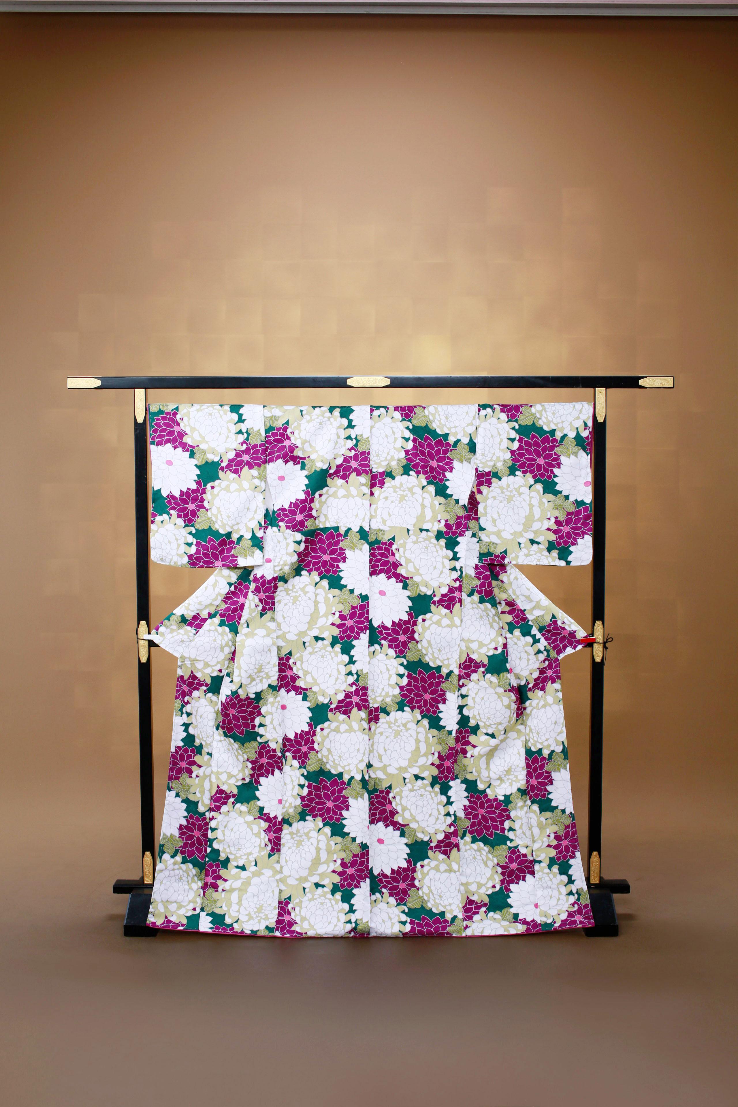 緑 白紫花柄 レンタル着物