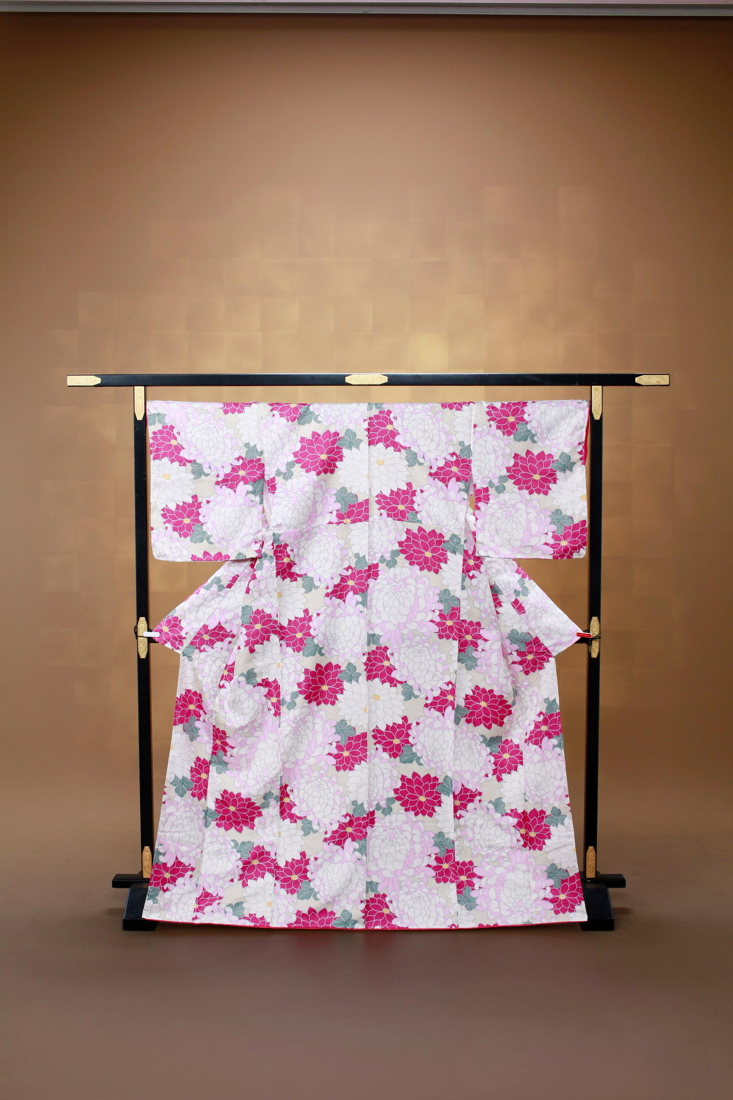 ピンク 花柄 レンタル着物