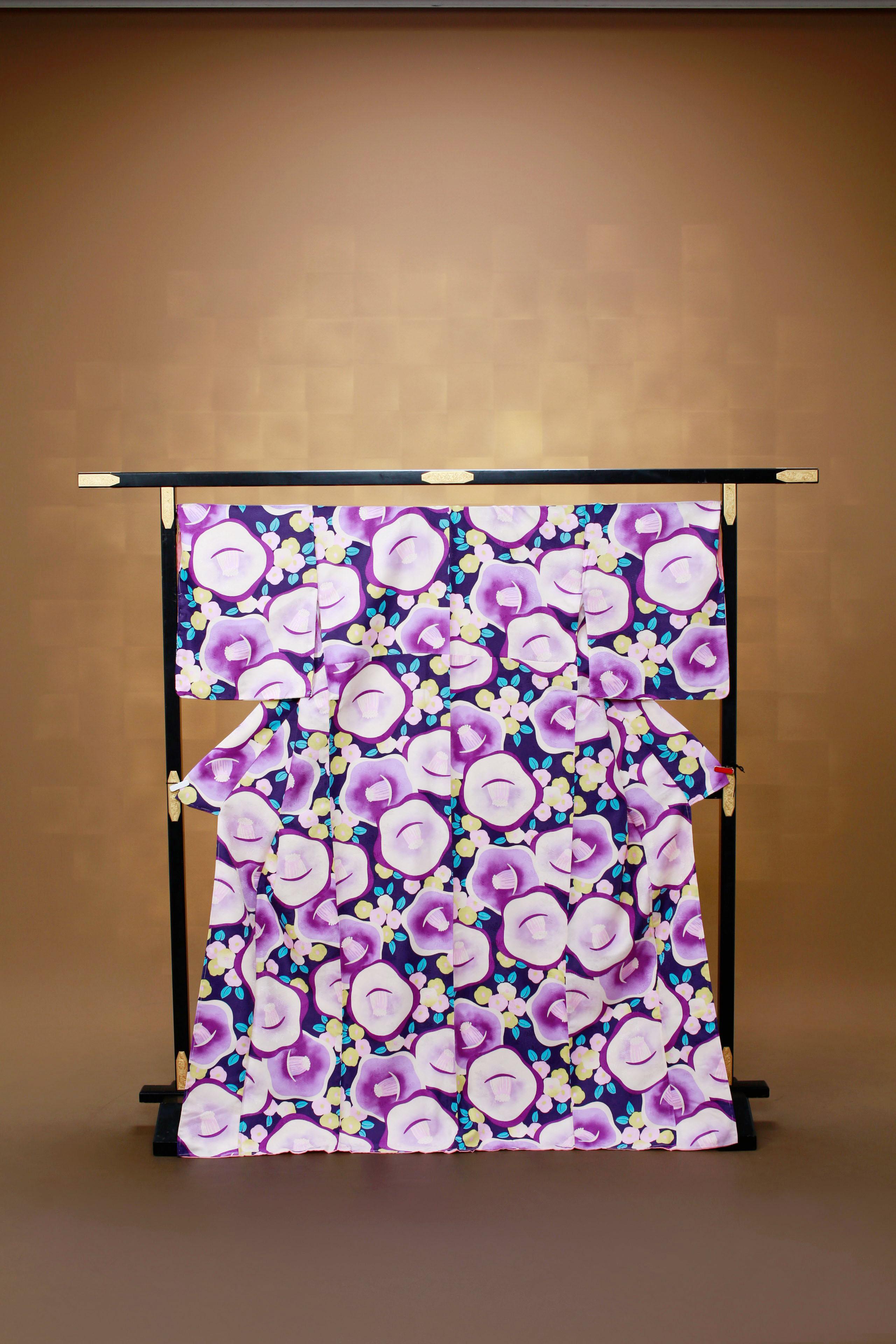 緑 紫花柄 レンタル着物