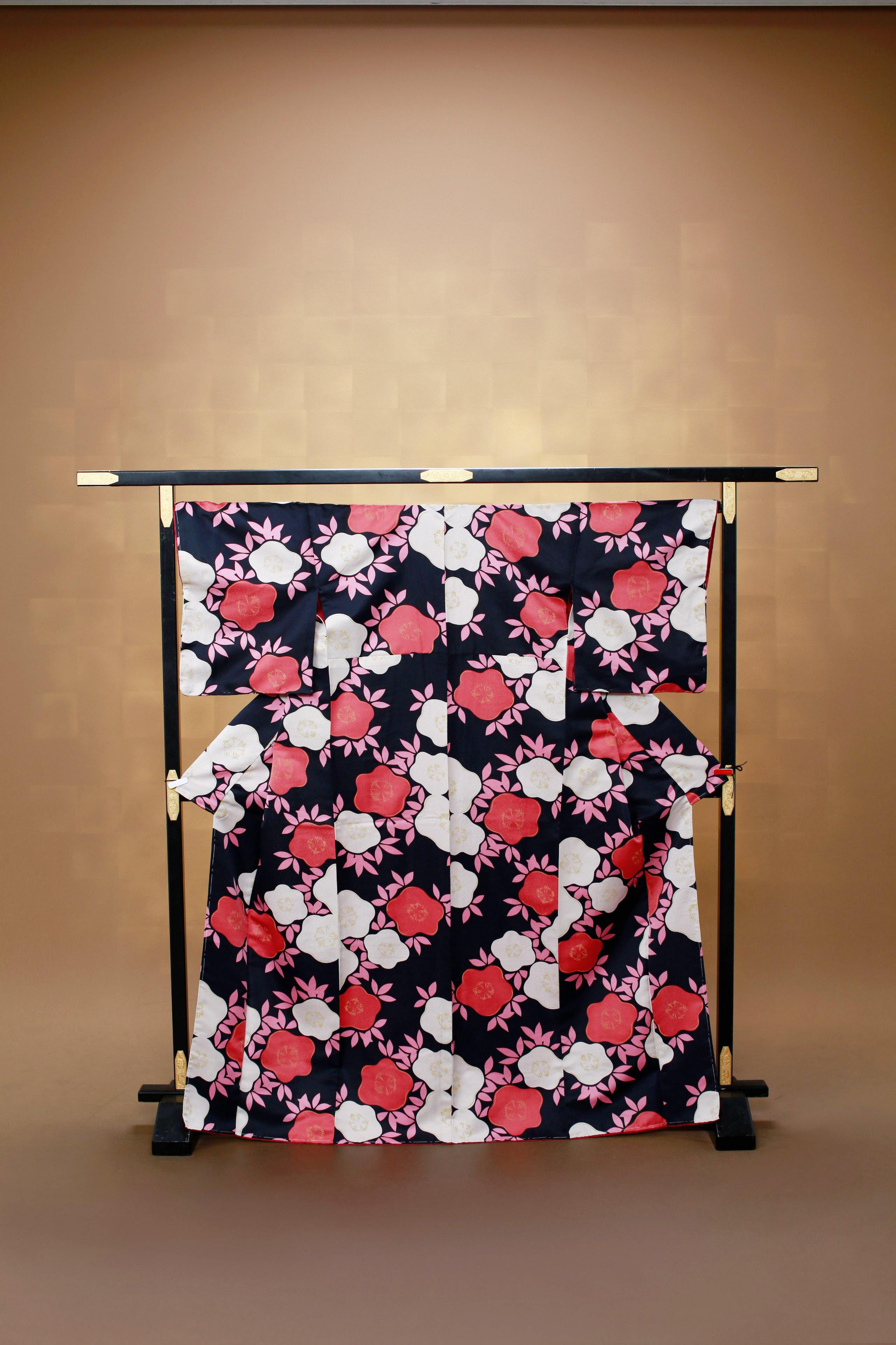 黒 赤花柄 レンタル着物