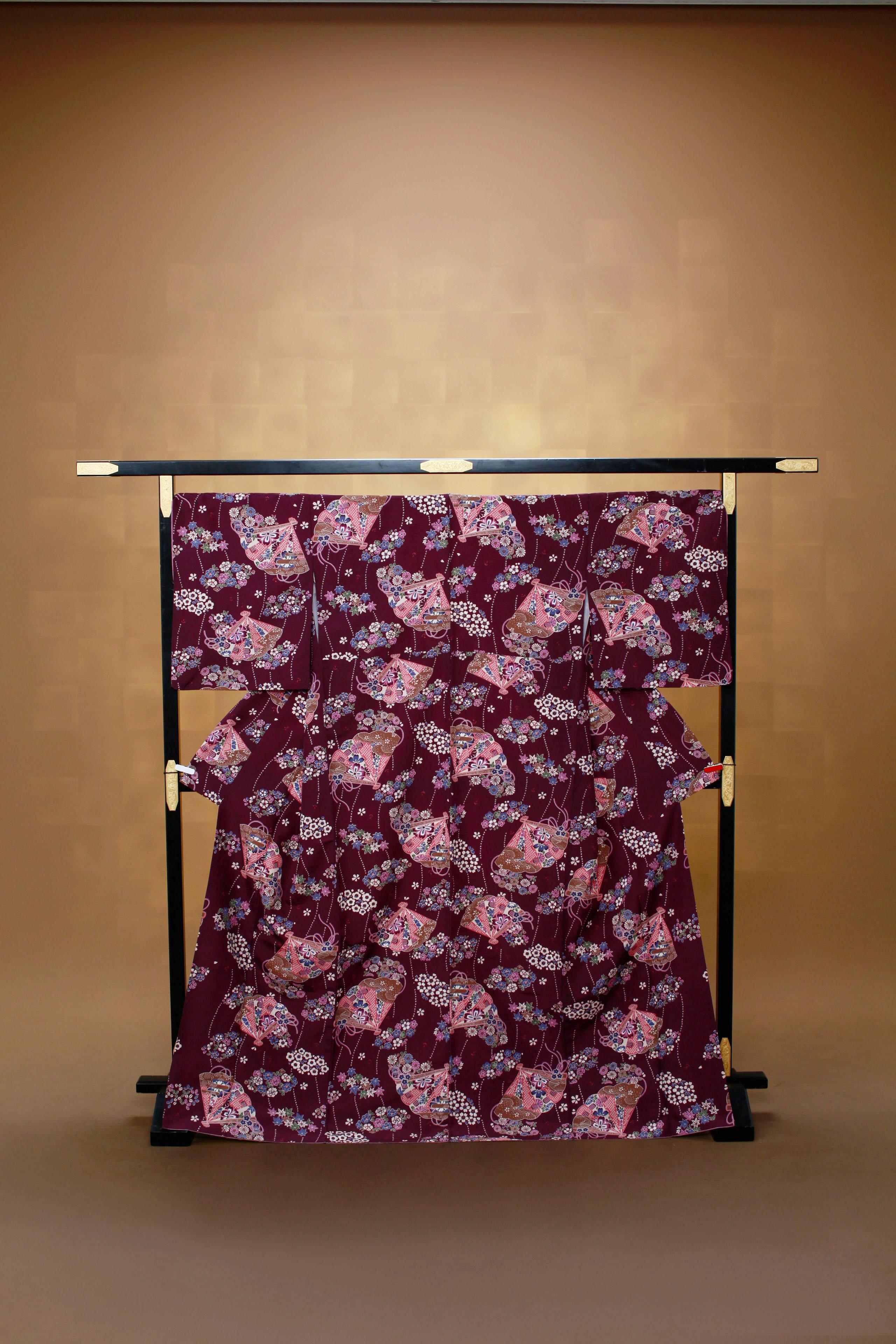 古代紫 扇 小紋 レンタル着物