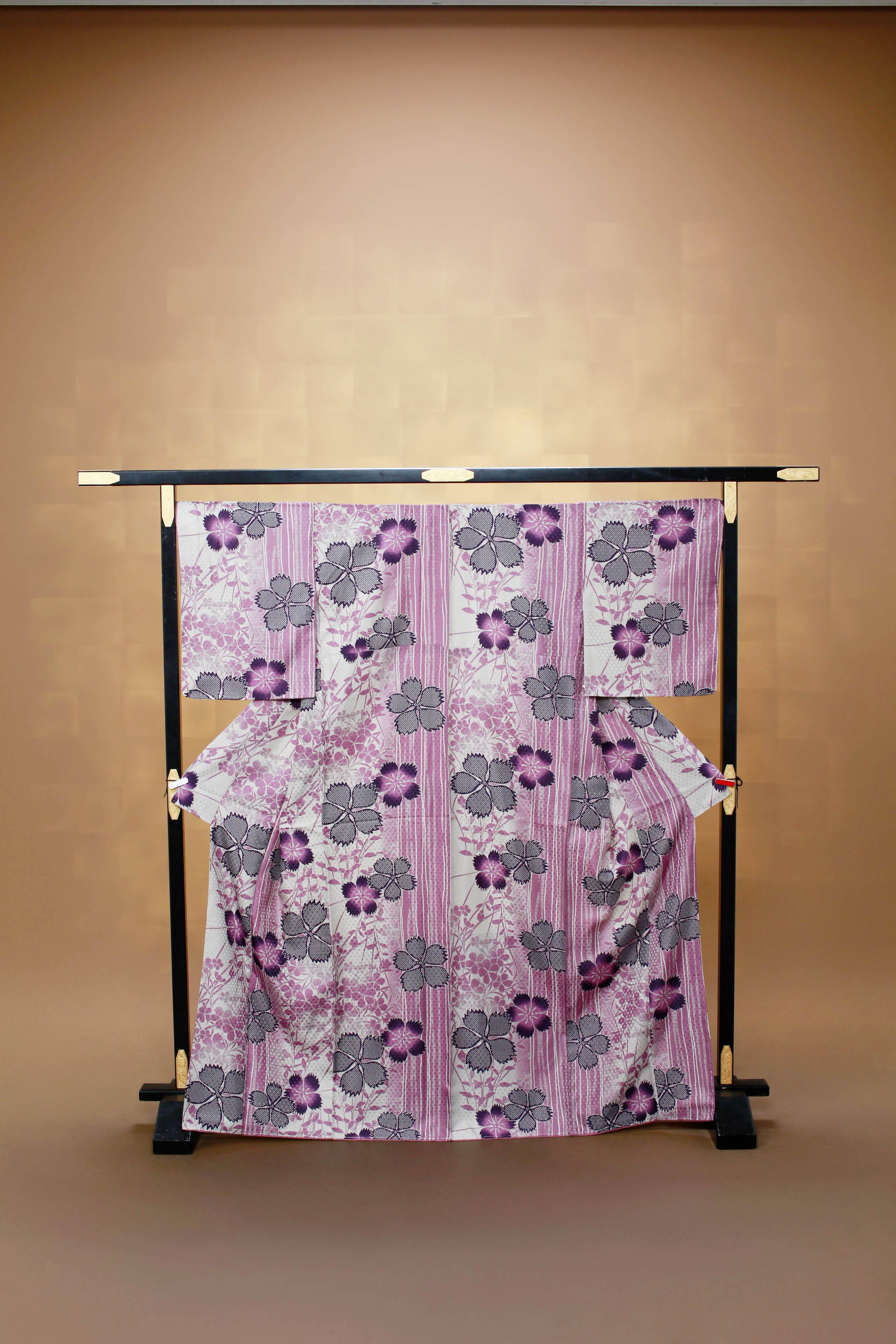 白 縦縞紫 着物レンタル