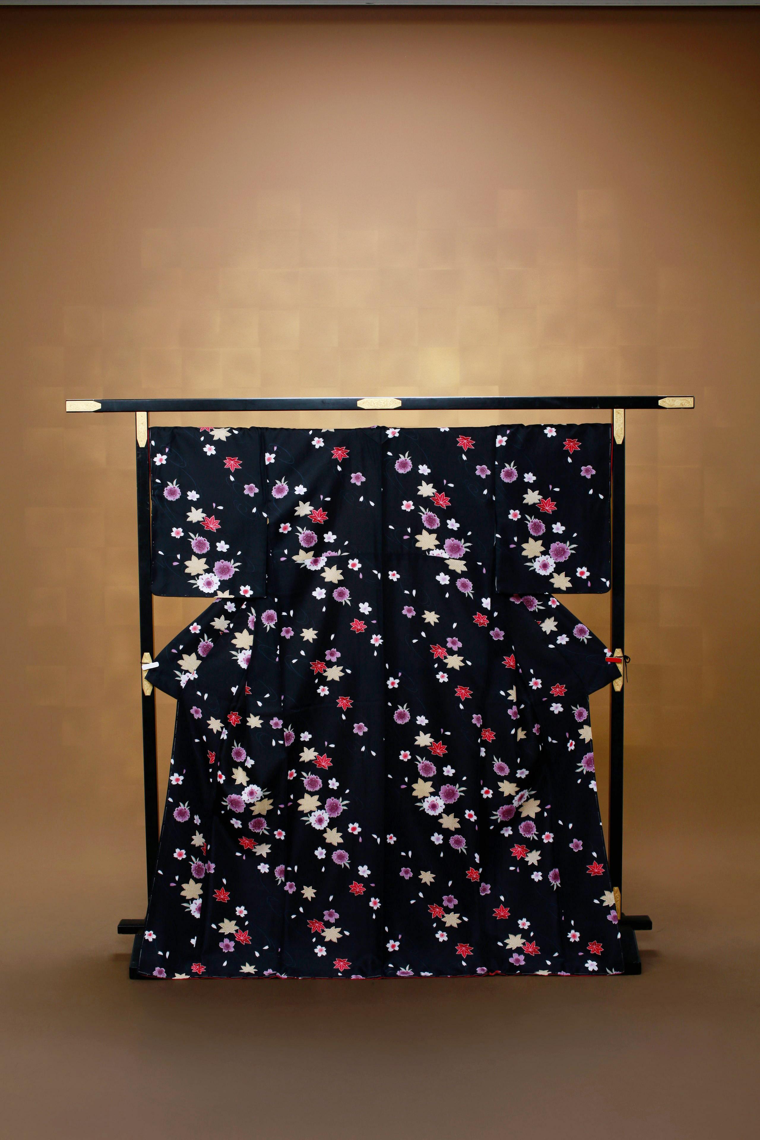 黒 花柄 着物レンタル