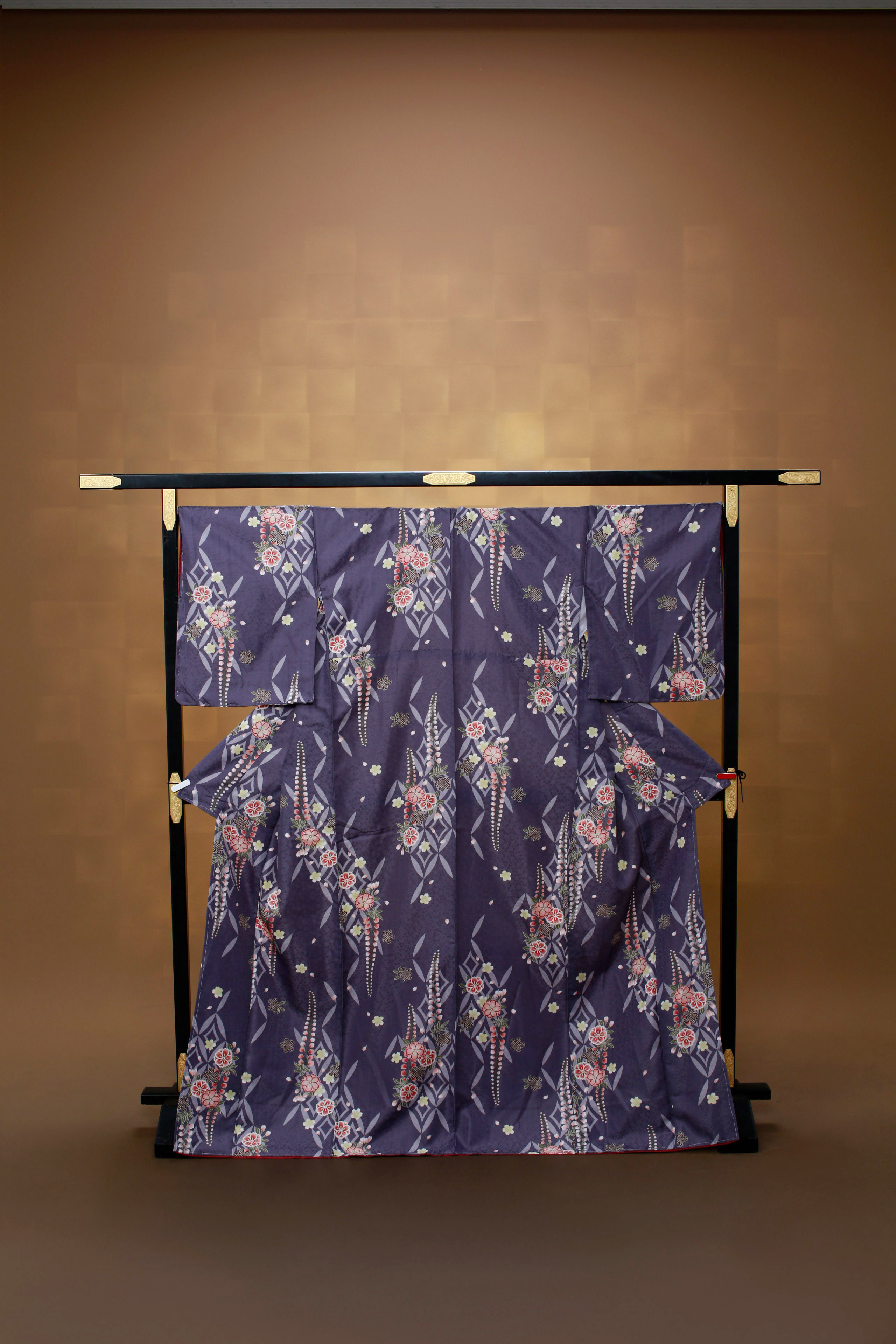 青紫 七宝 花柄 着物レンタル
