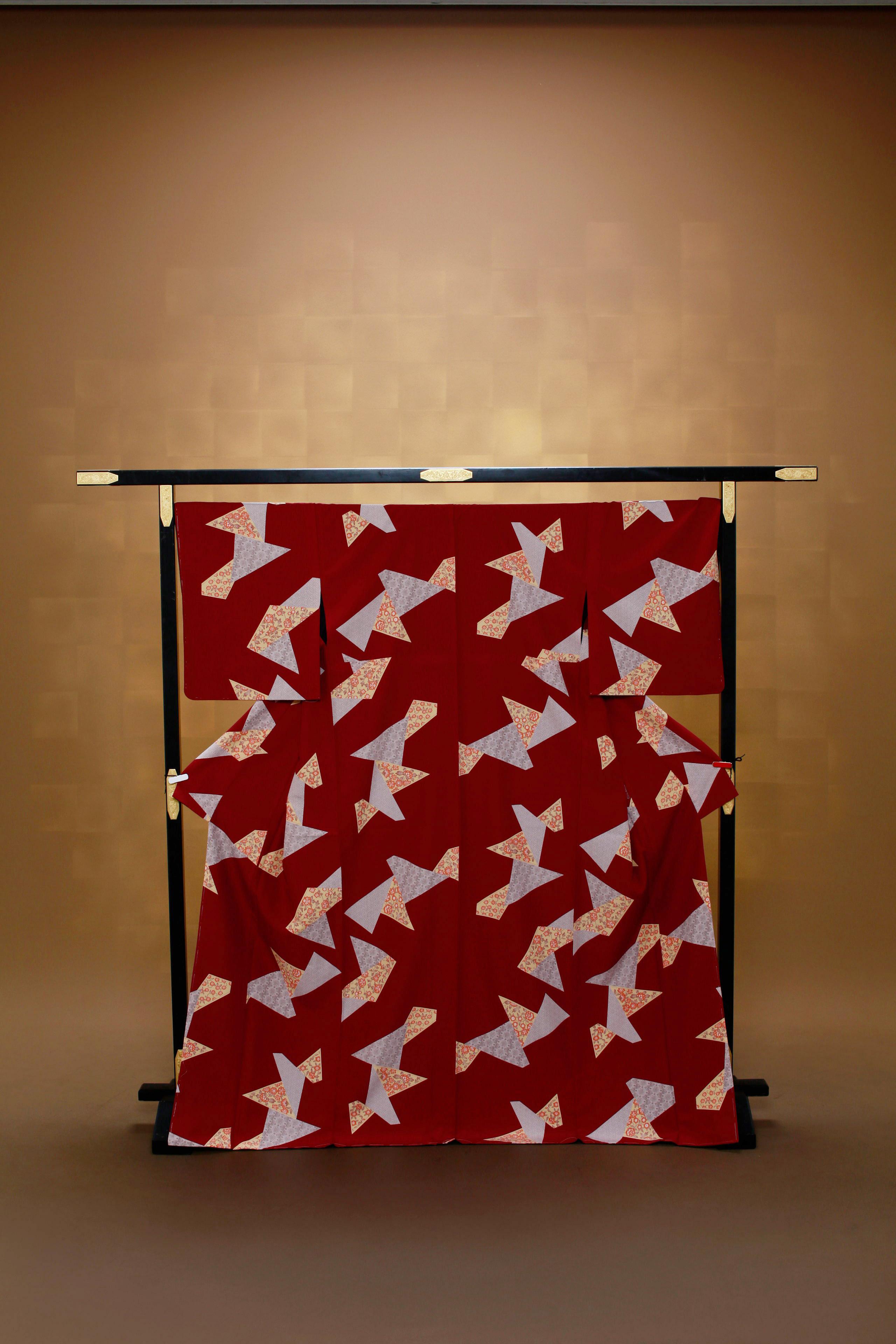 赤茶 折紙 レンタル着物