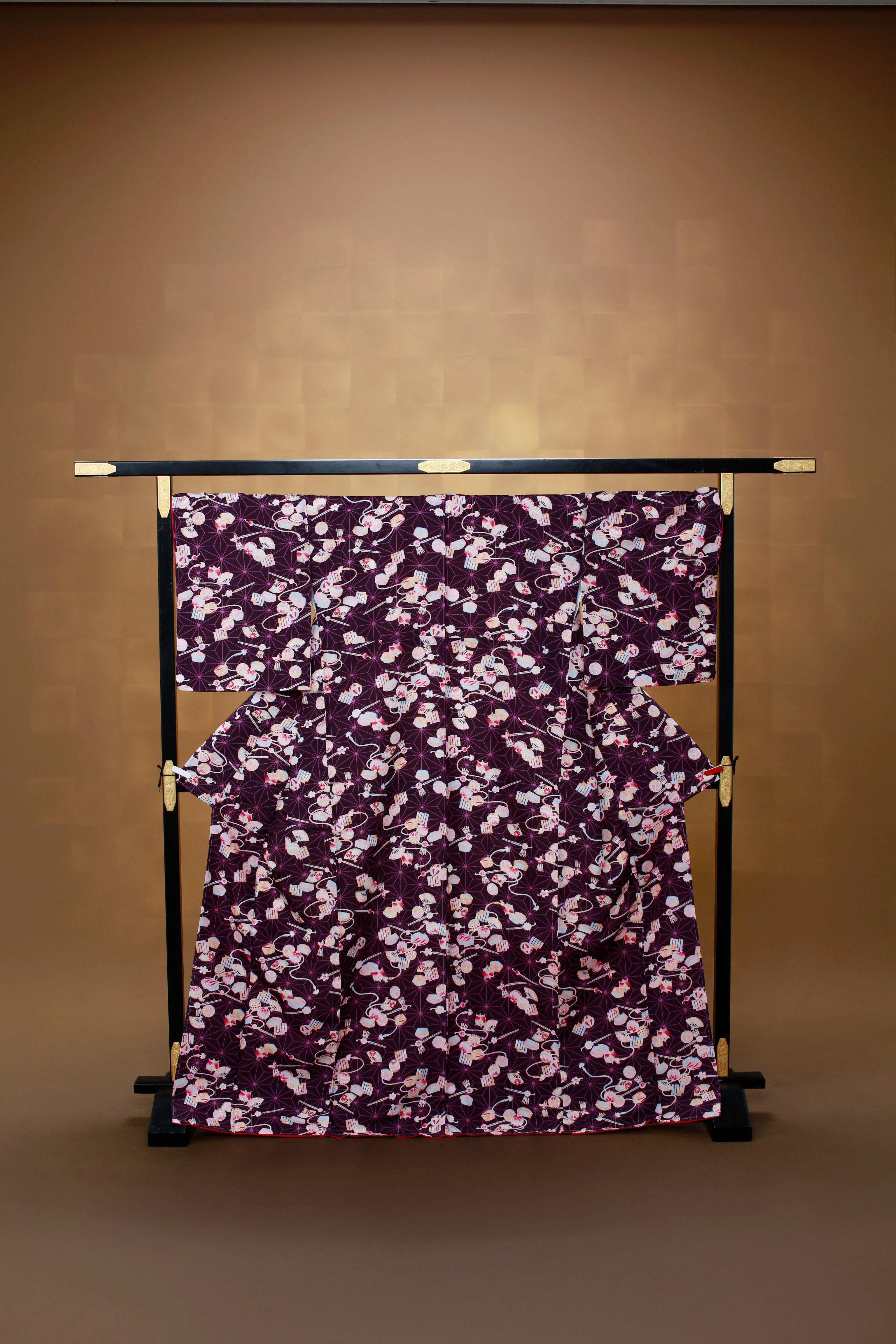 紫 麻の葉 小物づくし レンタル着物