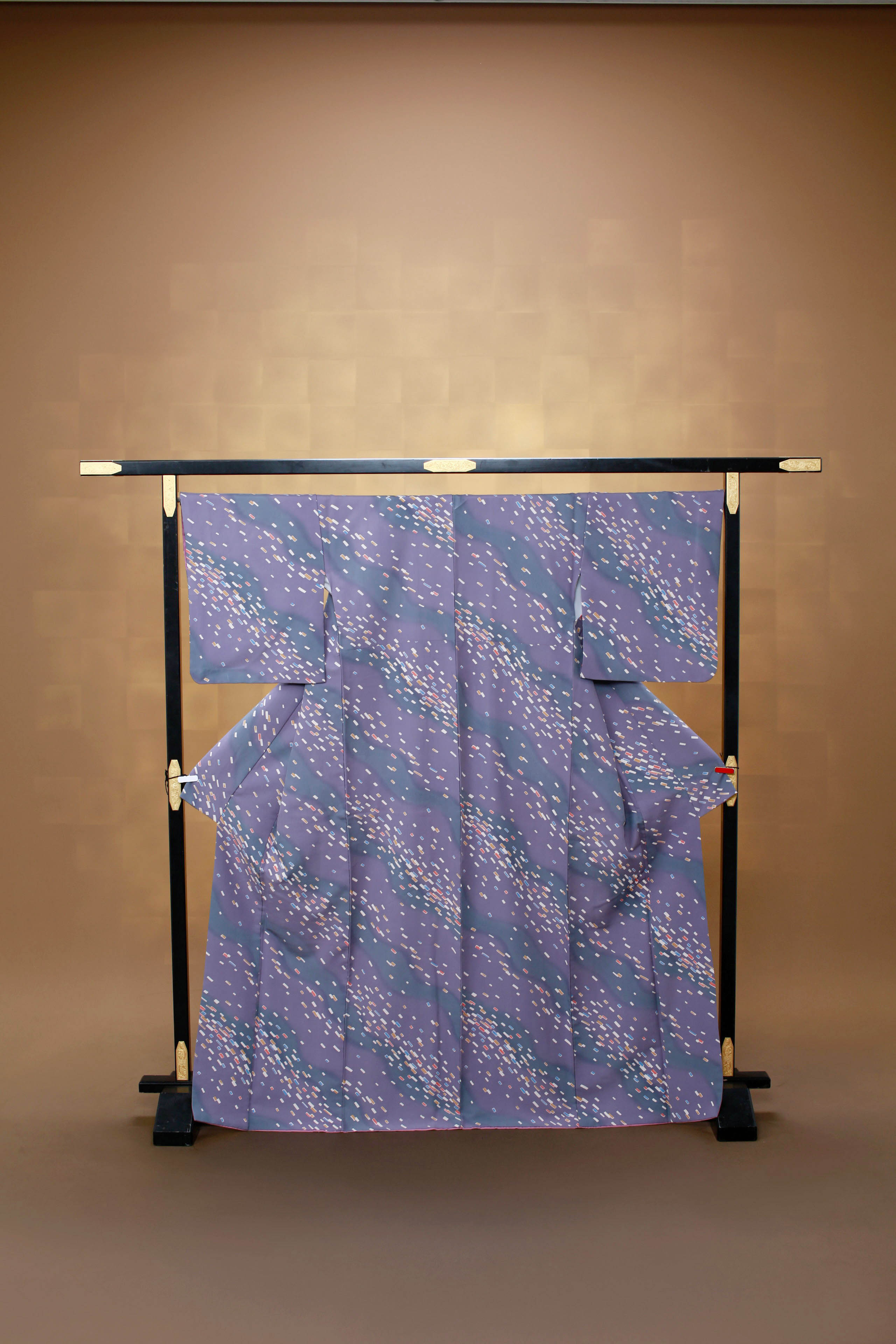 紫 流水 小紋 レンタル着物