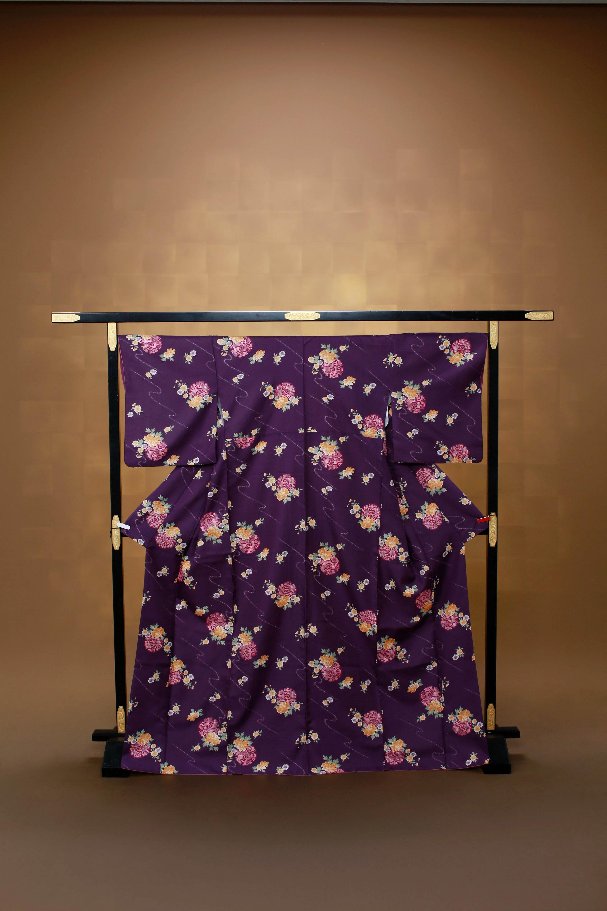 古代紫 流水小花 レンタル着物