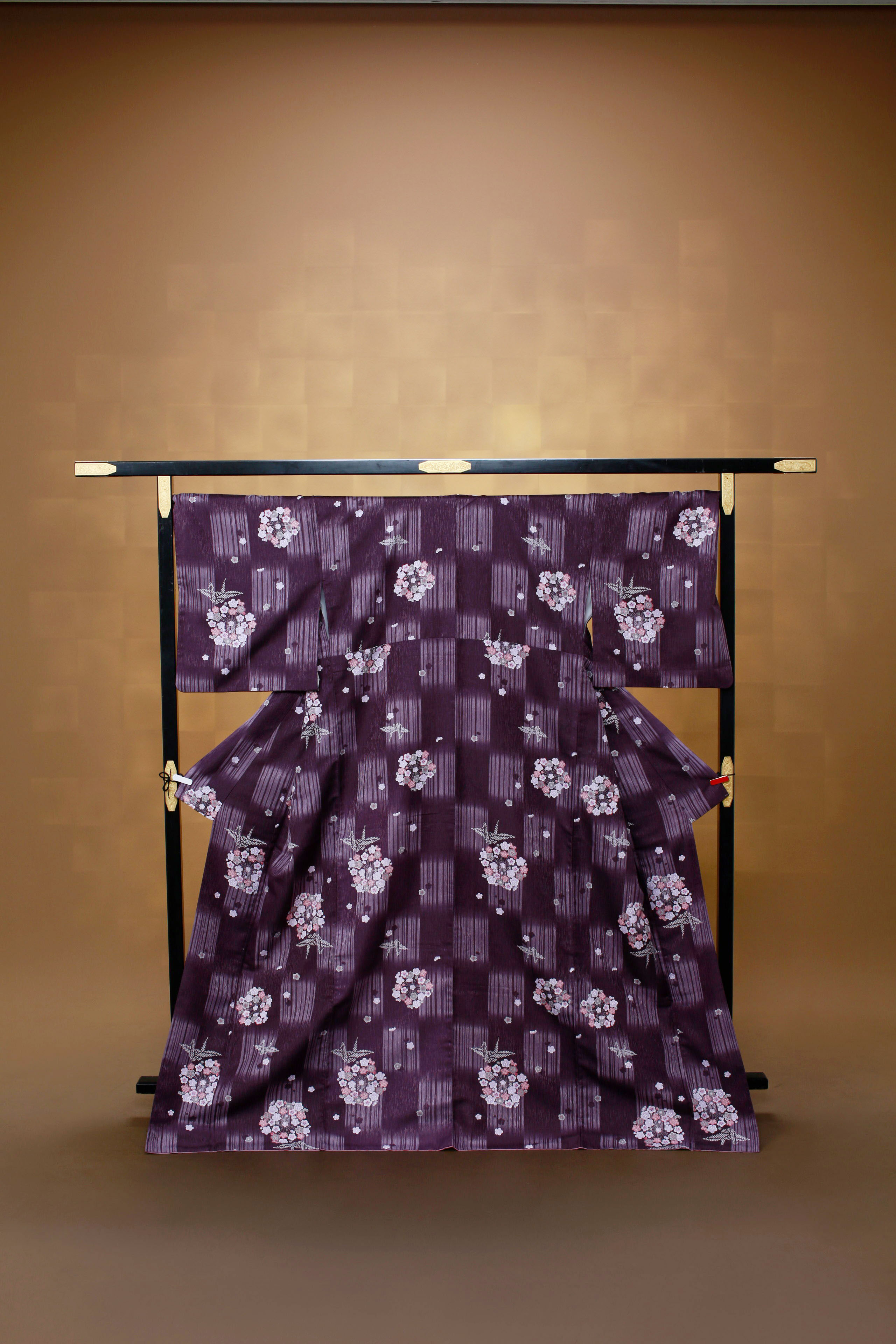 古代紫 絣風 小花 レンタル着物